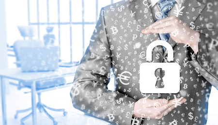 whistleblower: businessman protect lock security concept Stock Photo