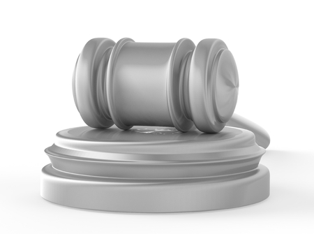 soundboard: steel gavel and soundboard on white background. LAW concept Stock Photo