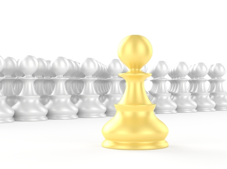 strategic position: leadership concept gold pawn forward white pawns team group
