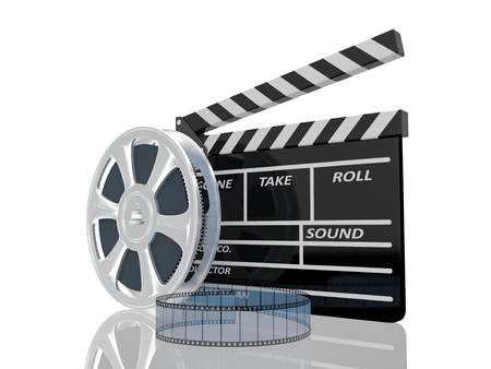 35mm film motion picture camera: 3d illustration of cinema clap and film reel, over white background