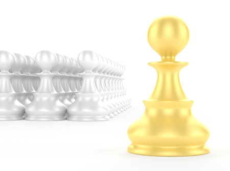 pawns: leadership concept gold pawn forward white pawns team group