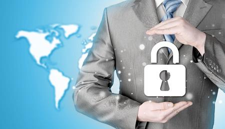 lock security businessman protect concept