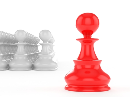 strategic position: leadership concept red pawn forward white pawns team group Stock Photo