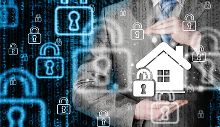 protect home: Business house protect a house, Home insurance concept.