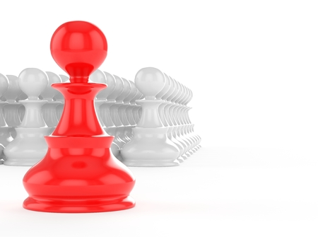strategic position: leadership concept, red pawn forward white pawns team group