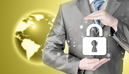 businessman with lock security, protect concept