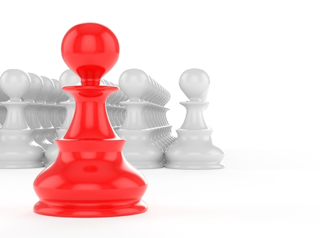 leadership concept red pawn forward white pawns team group Stock Photo