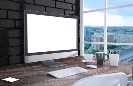 ordinateur de bureau: �cran 3D illustration de PC sur la table dans le bureau, espace de travail