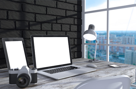 3D illustration laptopand work stuff on table near brick wall, Workspace illustration