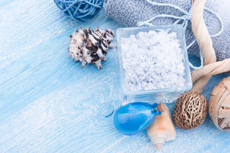 Spa stuff with sea salt and shell Stock Photo