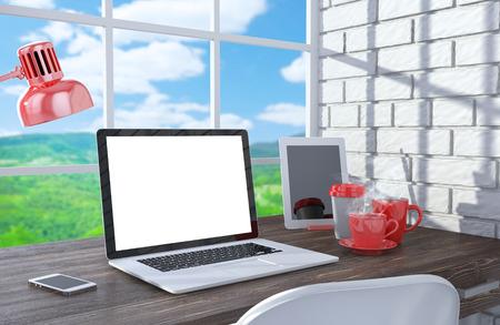 3D illustration laptopand work stuff on table near brick wall, Workspace illustration