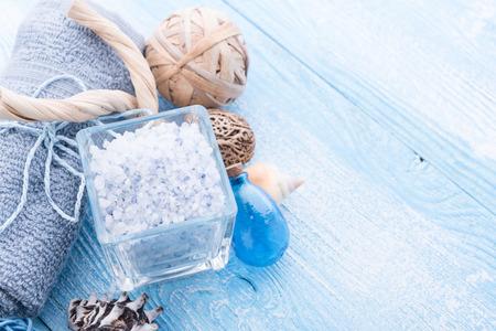 spa stuff: Spa stuff with sea salt and shell Stock Photo