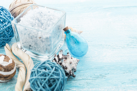 body toning: Spa stuff with sea salt and shell Stock Photo
