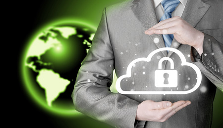 company secrets: Protect cloud information data concept. Security and safety of cloud computing.