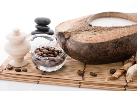 spa stuff: coffee beans, Spa stuff with candles in coconut