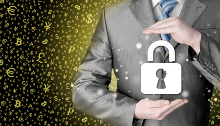 protect: lock security businessman protect concept