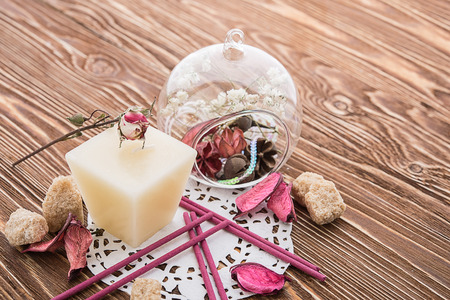 spa stuff: spa stuff on wooden background: candle, aroma