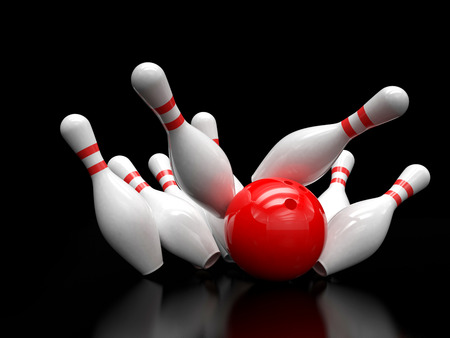 skittles: Bowling ball and scattered skittles isolated Stock Photo