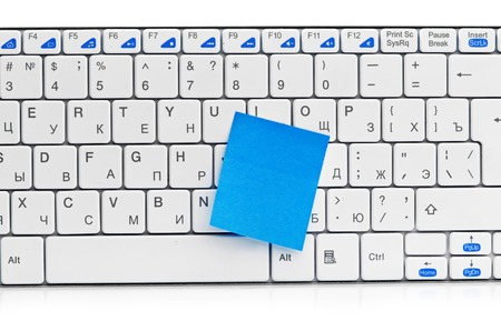 recollection: memo on white keyboard can use as background