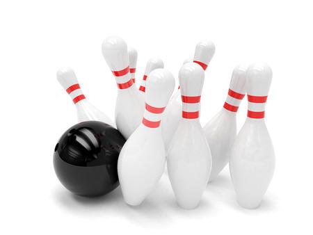 bolos: Bola de bowling y bolos aislados Foto de archivo