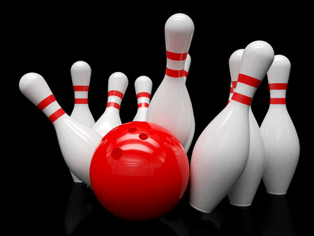 bowling strike: Bowling ball and skittles isolated