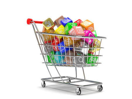 business software: shopping cart with application software icons isolated on a white background Stock Photo