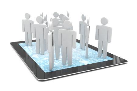 networking people: group of people figures on tablet PC, 3d render