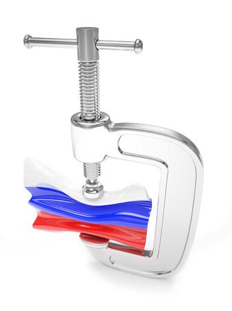 sanction: Russias flag in clamp, crisis, sanction concept Stock Photo