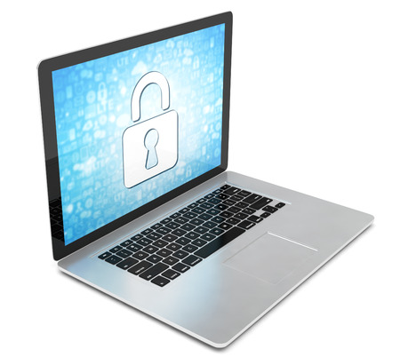 pc screen: 3d rendering of a laptop with security concept Stock Photo