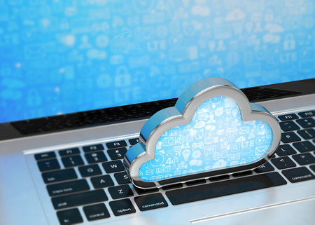 cloud services: Laptop with cloud computing symbol on keyboard. 3d render Stock Photo