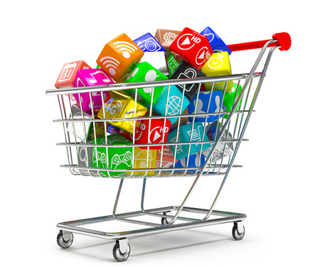 software: shopping cart with application software icons isolated on a white background Stock Photo
