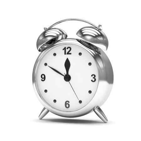chrome: Chrome alarm clock on white
