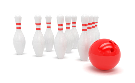 skittles: Bowling ball and skittles isolated