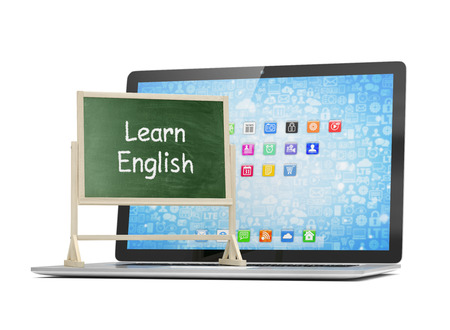 learning english: Laptop with chalkboard, learn english, online education concept