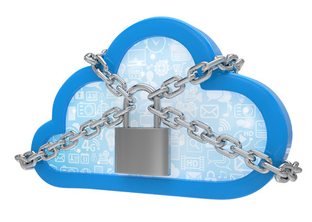 remote access: Cloud computing, security concept on white