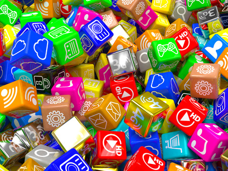 mobile app: mobile app icons background. 3d Stock Photo