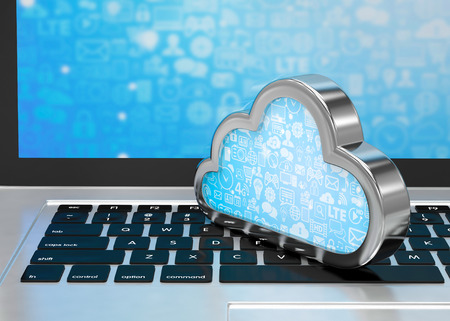 Laptop with cloud computing symbol on keyboard. 3d render Stockfoto