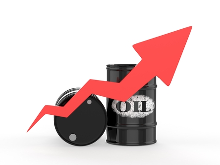 energy market: Oil Barrels with Red Arrow Up.