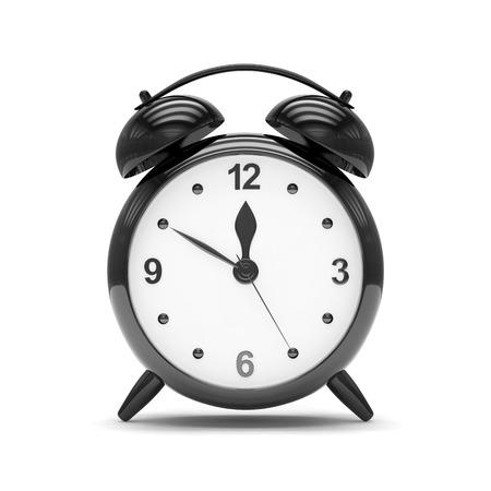 despertador: Reloj despertador negro sobre blanco Foto de archivo