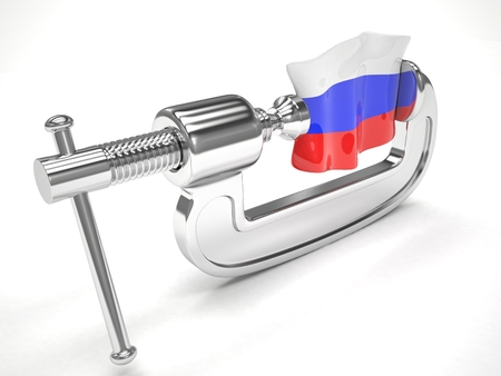 Russias flag in clamp, crisis, sanction concept Stock Photo
