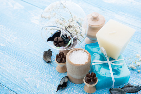 spa stuff: soap and spa stuff on wooden background