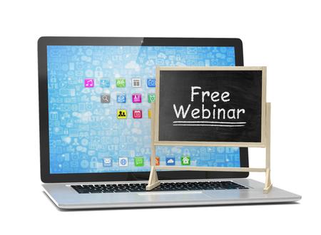 free education: Laptop with chalkboard, free webinar, online education concept