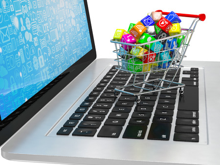 software: shopping cart with application software icons on laptop