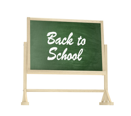 first class: Back to School concept. Blackboard, chalkboard isolated on white