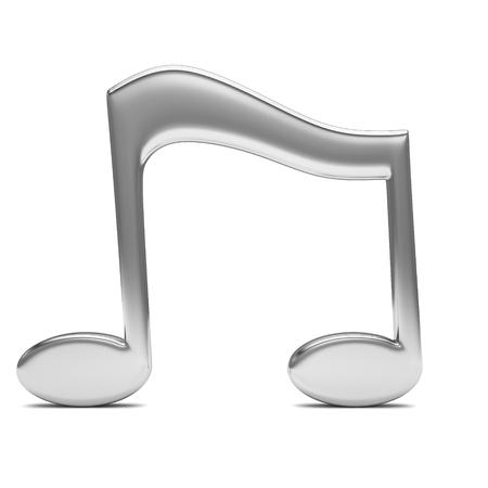 notas musicales: nota musical en 3D, sobre fondo blanco