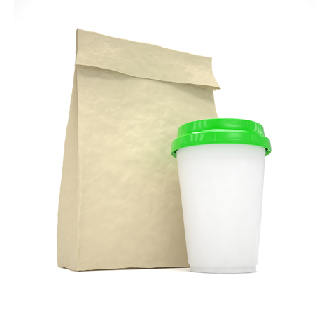 food package: Coffee to go and lunch bag, on white.