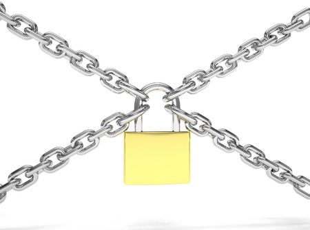 padlock: Padlock and chain isolated on white background Stock Photo