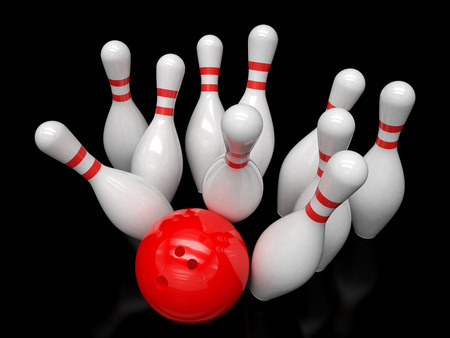 bowling pin: Bowling ball and skittles isolated