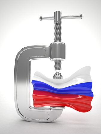 clamp: Russias flag in clamp, crisis, sanction concept Stock Photo