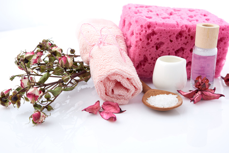 massage therapy: Composition of spa treatment on white background